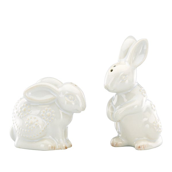 French Perle White Rabbit Salt & Pepper Set