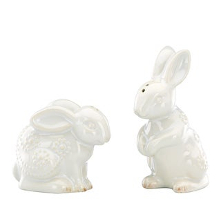 French Perle White Rabbit Salt & Pepper Set