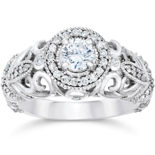14k White Gold 3/4ct TDW Vintage Diamond Ring (G-H, SI1-SI2)