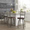 Steel Frame/ Oak Wood Counter Stool
