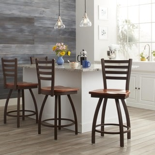 Steel Frame and Oak Counter Stool