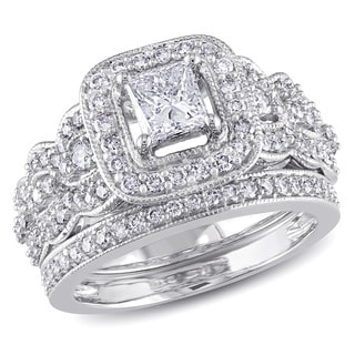 Miadora 14k White Gold 1 1/4ct TDW Diamond Bridal Ring Set (G-H, I1-I2)