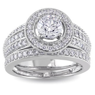 Miadora 14k White Gold 1 1/2ct TDW IGL-certified Diamond Bridal Ring Set (G-H, I1-I2)