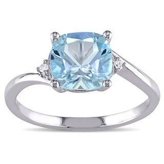 Miadora 10k White Gold 1 3/4ct TGW Blue Topaz and Diamond Cocktail Ring (H-I, I2-I3)