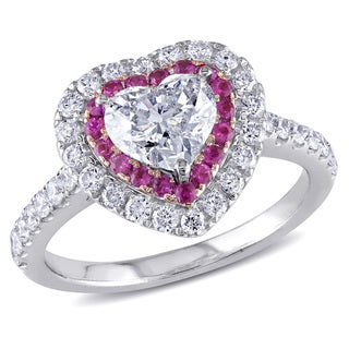 Miadora 14k White Gold Pink Sapphire and 1 1/2ct TDW Diamond Heart Ring (H-I, SI1-SI2)