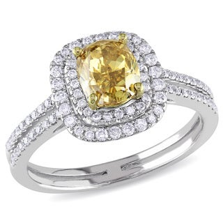 Miadora 14k Gold 1 1/2ct TDW Yellow Cushion Cut Diamond Ring (I1-I2)