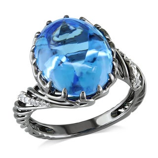 Miadora Signature Collection 18k Black Gold Blue Topaz and 1/10ct TDW Diamond Cocktail Ring (G-H, SI1-SI2)