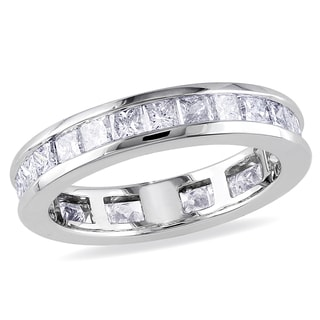 Miadora 14k White Gold 2ct TDW Diamond Eternity Ring (G-H, SI1-SI2)