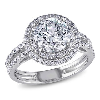 Miadora 14k White Gold 2 1/2ct TDW Diamond Halo Ring (H-I, I1-I2)