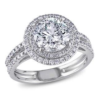 Miadora 14k White Gold 2 1/2ct TDW Diamond Halo Ring (H-I, I1-I2)