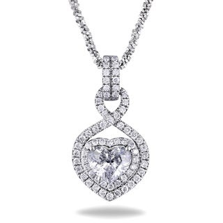 Miadora 14k White Gold 1 1/3ct TDW Diamond Heart Necklace (G-H, SI1-SI2)