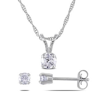 Miadora 10k White Gold 1/2ct TDW Diamond Earrings and Necklace Set (H-I, I1-I2)