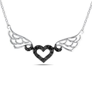 M by Miadora Sterling Silver 1/6ct TDW Black Diamond Heart Necklace
