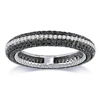 Miadora 14k White Gold 1 1/2ct TDW Black and White Diamond Eternity Ring (G-H, SI1-SI2)