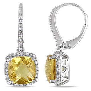 Miadora Sterling Silver Citrine and 1/5ct TDW Diamond Earrings (H-I, I2-I3)