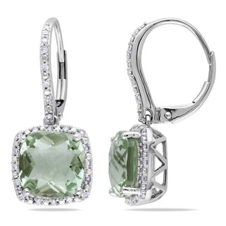 Miadora 10k White Gold Green Amethyst and 1/5ct TDW Diamond Earrings (H-I, I2-I3)