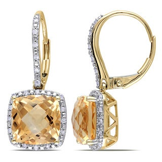 Miadora 10k Yellow Gold Citrine and 1/5ct TDW Diamond Earrings (H-I, I2-I3)