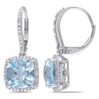 Miadora 10k White Gold Blue Topaz and 1/5ct TDW Diamond Earrings (H-I, I2-I3)