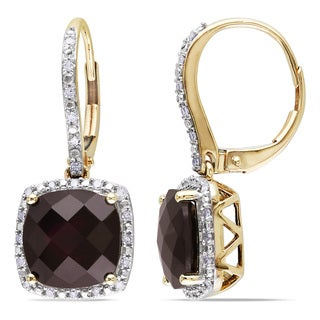 Miadora 10k Yellow Gold Garnet and 1/5ct TDW Diamond Earrings (H-I, I2-I3)