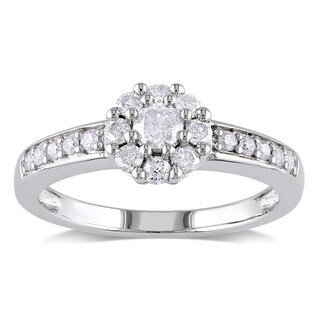 Miadora Sterling Silver 1/2ct TDW Diamond Flower Promise Ring (H-I, I2-I3)