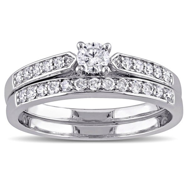 Miadora Sterling Silver 1/2ct TDW Diamond Bridal Ring Set (G-H I2-I3)