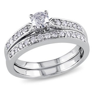Miadora Sterling Silver 1/2ct TDW Diamond Bridal Ring Set (H-I, I2-I3)
