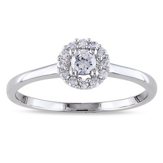 Miadora Sterling Silver 1/4ct TDW Diamond Halo Ring (H-I, I2-I3)