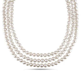 Miadora Sterling Silver White Cultured Freshwater Pearl Necklace (6.5-7 mm)