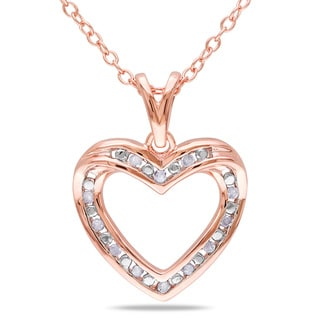 M by Miadora Rose Plated Silver 1/10ct TDW Diamond Heart Necklace (H-I, I2-I3)