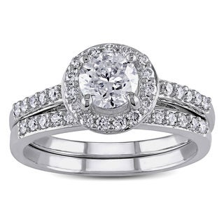 Miadora 10k White Gold 1 1/6ct TDW Diamond Halo Bridal Ring Set (H-I, I2-I3)