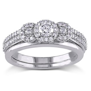 Miadora 10k White Gold 1/2ct TDW Diamond 3-stone Halo Bridal Ring Set (G-H, I1-I2)