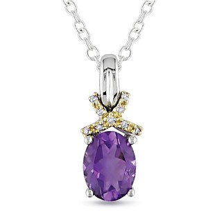 Miadora Silver and 10k Yellow Gold Amethyst and Diamond Accent Necklace