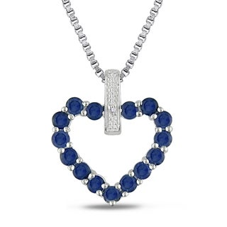 Miadora Sterling Silver Created Blue Sapphires and Diamond Accent Heart Necklace