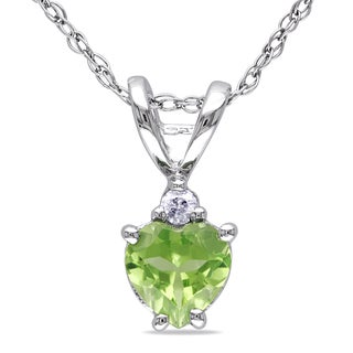 Miadora 10k White Gold Peridot and Diamond Accent Heart Necklace
