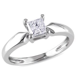 Miadora 14k White Gold 1/2ct TDW Diamond Solitaire Ring (J-K, I2-I3)