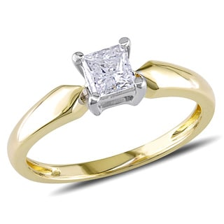 Miadora 14k Yellow Gold 1/2ct TDW Diamond Solitaire Ring (J-K, I2-I3)