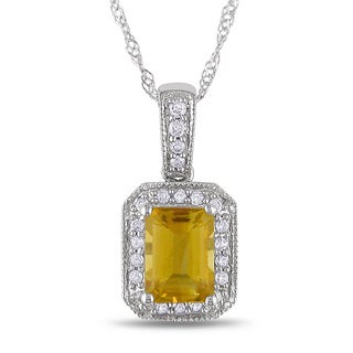 Miadora 14k White Gold Citrine and 1/10ct TDW Diamond Necklace (G-H, I1-I2)