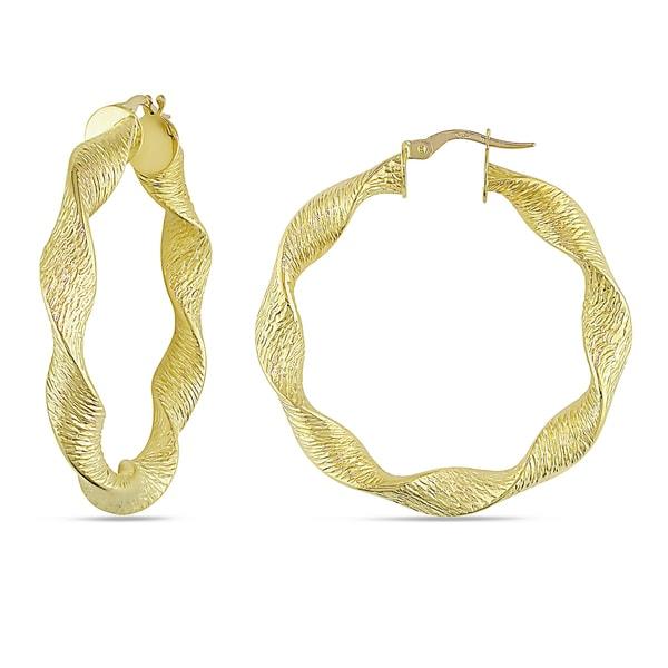 Miadora 18k Yellow Gold Twisted Hoop Earrings