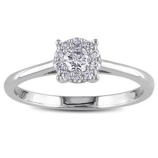Miadora 10k White Gold 1/4ct TDW Diamond Halo Ring (G-H, I1-I2)