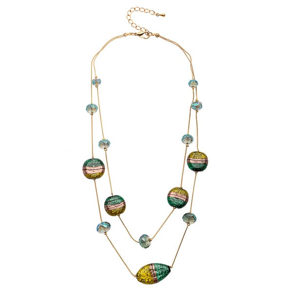 Alexa Starr two row Illusion faceted and painted glass necklace 12975809