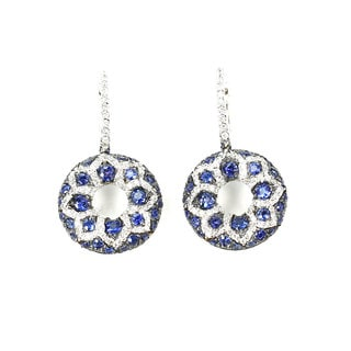 Sonia Bitton 14k White Gold 3/5ct TDW White Diamond Blue Sapphire Flower Dangle Earrings (G-H, SI1-SI2)