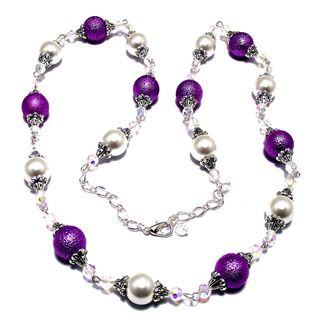 Textured Violet and Smooth White Glass Pearl 4-piece Wedding Jewelry Set