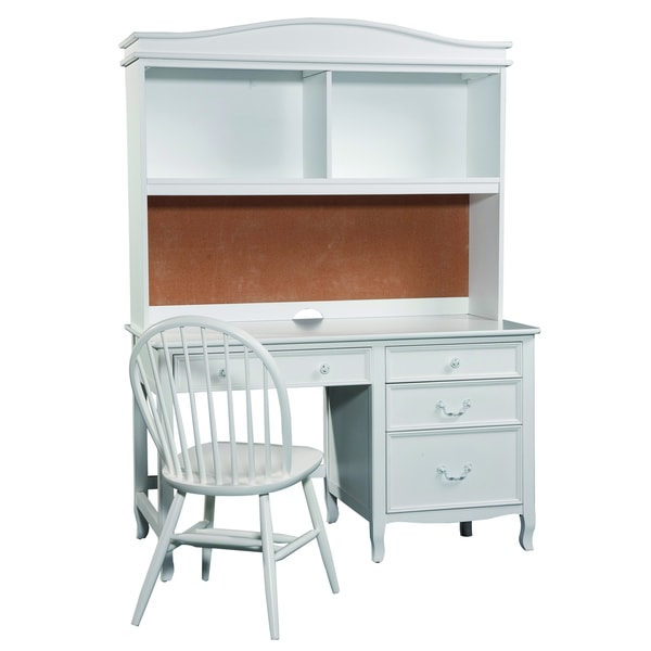 Emma White Pedestal Desk with Hutch