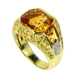 Sonia Bitton 18k Yellow Gold Citrine, Yellow Sapphire and Diamond Ring