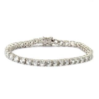 Sterling Silver Natural White Zircon 7.25-inch Tennis Bracelet