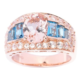 14k Rose Gold 3 7/8ct TGW Morganite, Blue Topaz and Cubic Zirconia Multi-level Ring