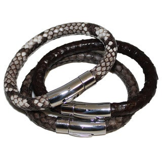 Stainless Steel Men's Genuine Python Leather Bracelet