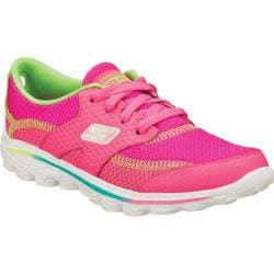 Girls' Skechers GOwalk 2 Stance Neon Pink/Lime