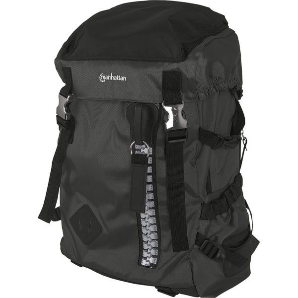 "Manhattan Zippack 15.6"" Laptop Backpack, Black/Black"