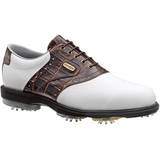 FootJoy Men's DryJoys White/ Brown Gator Print Golf Shoes